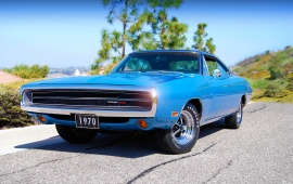 Dodge Charger Blue Car 1970