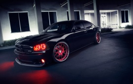 Dodge Charger SRT8 Black Red Wheels Lights