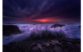 Dramatic Purple Sea Sunset