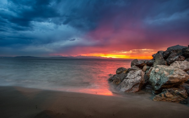 Dramatic Sunset On The Beach (click to view)