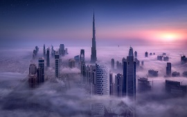 Dubai Buildings Clouds Evening