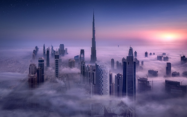 Dubai Buildings Clouds Evening (click to view)