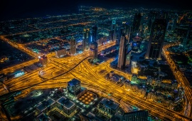 Dubai Metropolis Panorama Night Lights