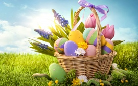 Easter Eggs Basket And Grass