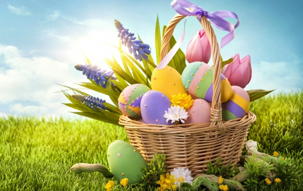 Easter Eggs Basket And Grass (click to view)
