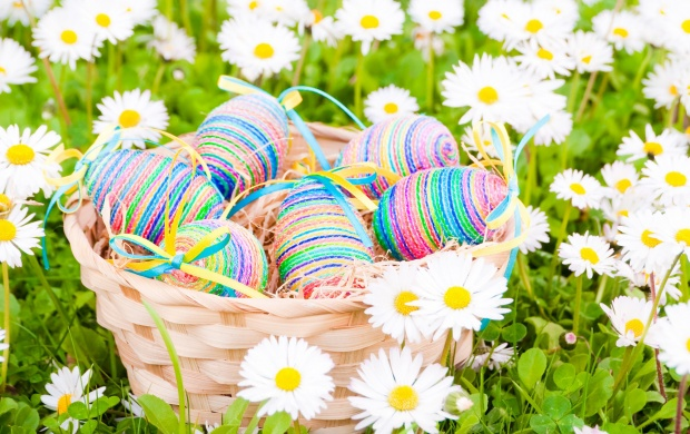 Easter Eggs Daisies Flowers Field (click to view)