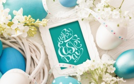 Easter Eggs Decoration With Spring Flowers