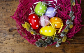 Easter Eggs In Pink Nest