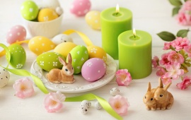 Easter Eggs Rabbits And Candles