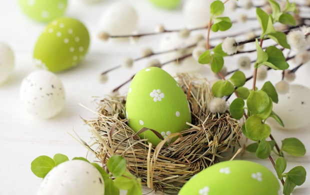 Easter Eggs Willow And Flowers Decoration (click to view)