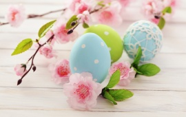 Easter Eggs With Pink Flower Branch