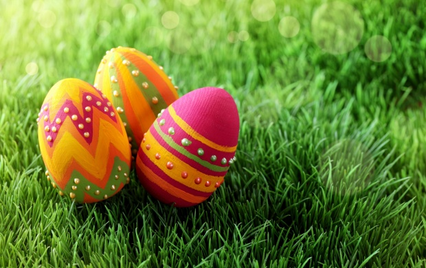 Easter Painted Eggs On Grass (click to view)