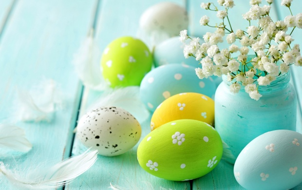 Easter Spring Blue Eggs Flowers (click to view)