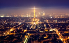 Eiffel Tower Metropolis Paris Night Lights