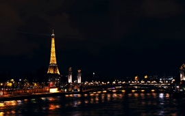 Eiffel Tower Night Paris France