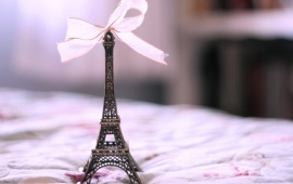 Eiffel Tower On White Ribbon