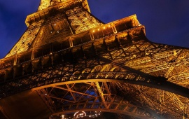 Eiffel Tower Paris Blue Night