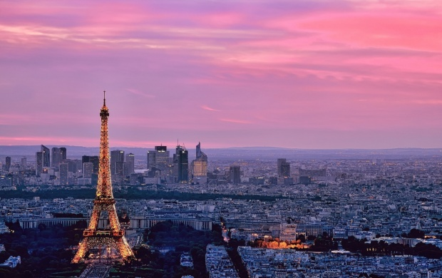 Eiffel Tower Paris Pink Sky (click to view)