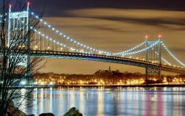 Evening Brooklyn Bridge Lights New York