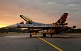 F-16 Fighter Falcon With Sunset