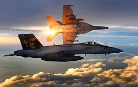 FA-18 Super Hornets Flying Over Afghanistan
