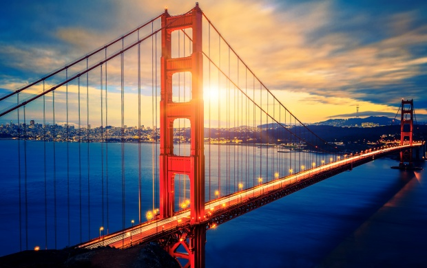 Famous Golden Gate Bridge At Sunrise (click to view)