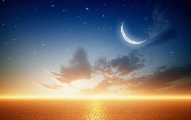 Fantastic Golden Sea Water Stars And Moon (click to view)
