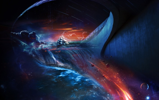 Fantasy Space Ship Sea Water (click to view)
