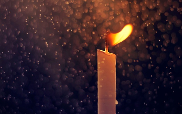 Fire Candle And Rain Drops wallpapers