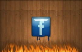 Fire Melting The Plastic Facebook Logo