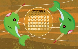 Fish With October 2012 Calendar
