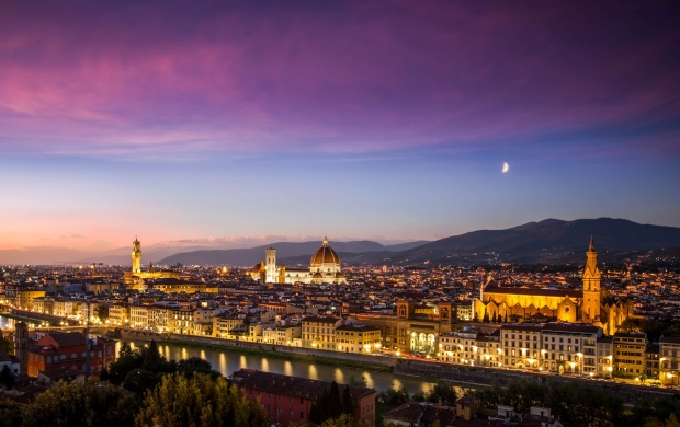 Florence Italy Evening Lights (click to view)