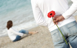 Flower For Her On The Beach