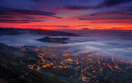 Fog Evening Berga Spain