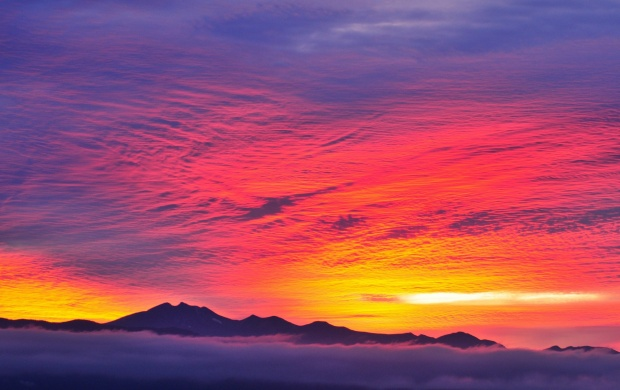 Fog Mountains Glow The Sky Clouds (click to view)