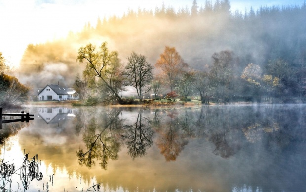 Foggy Landscape Mirrored into the Lake (click to view)