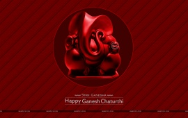 Ganesh Chaturthi In Red Background