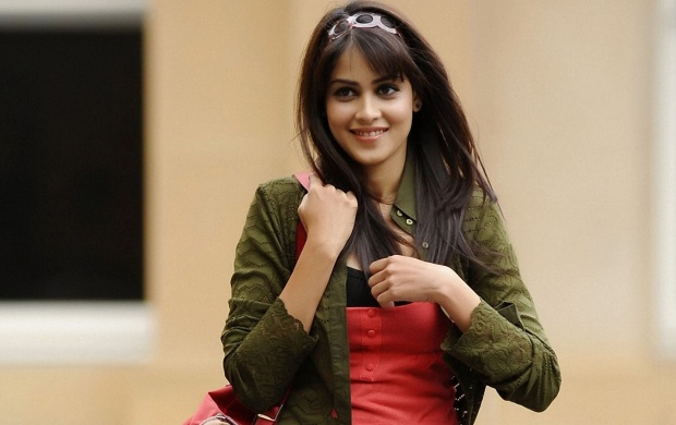 Genelia D'Souza Smiling In Red And Green Dress (click to view)