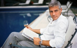 George Clooney Drinking Whisky