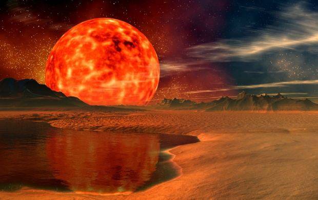 Giant Red Lava Planet (click to view)