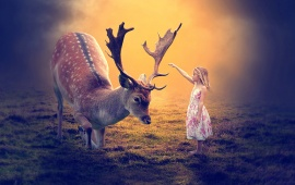Girl And Big Deer
