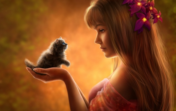 Girl And Kitten (click to view)