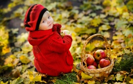 Girl Apple Basket Fall