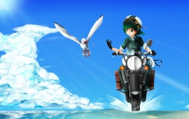 Girl Motorcycle And Seagull Bird