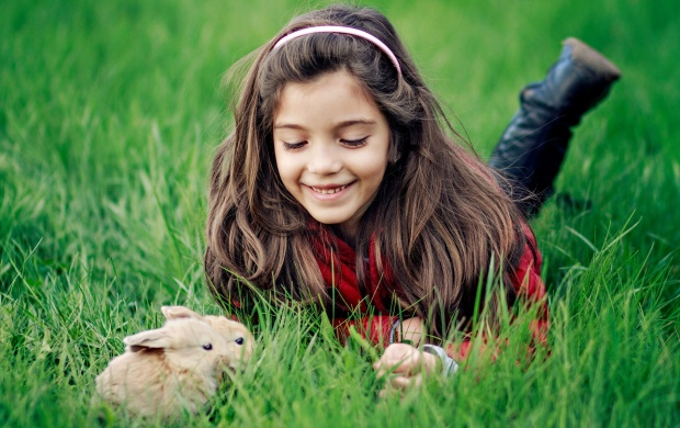Girl Playing Rabbit (click to view)