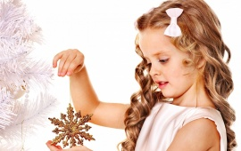 Girl Playing With Snowflake