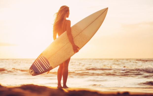 Girl Surfboard At Sunset Beach (click to view)