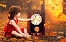 Girl Watch And Autumn Leaves