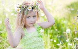 Girl Wearing Daisies Wreath