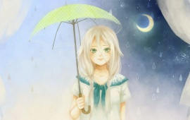 Girl With An Umbrella At Night